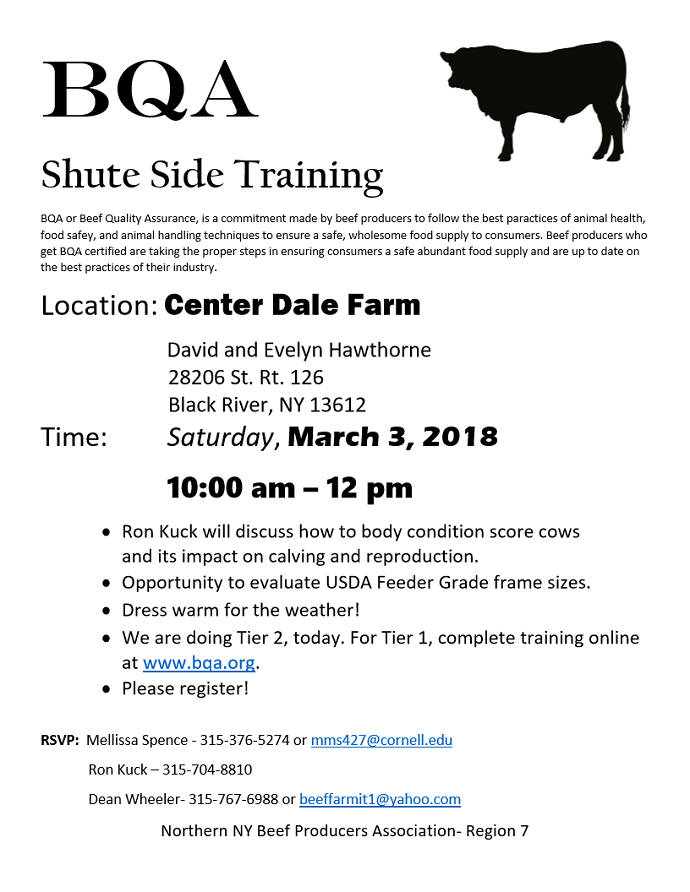 CCE Sponsoring Beef Quality Assurance Training for Producers March 3