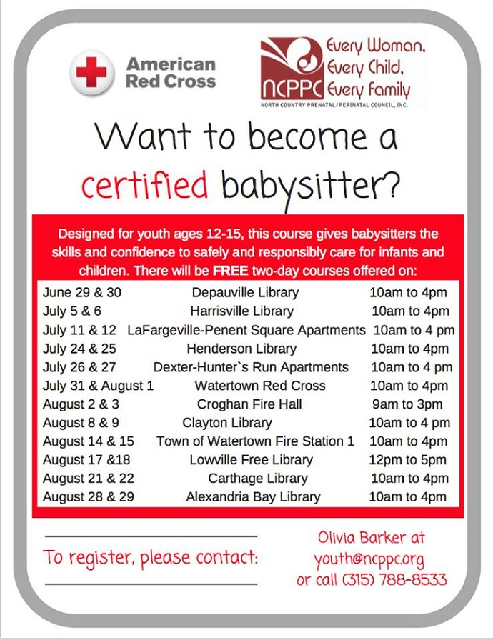 NCPPC Offering Free Babysitting Certification Courses Across Area