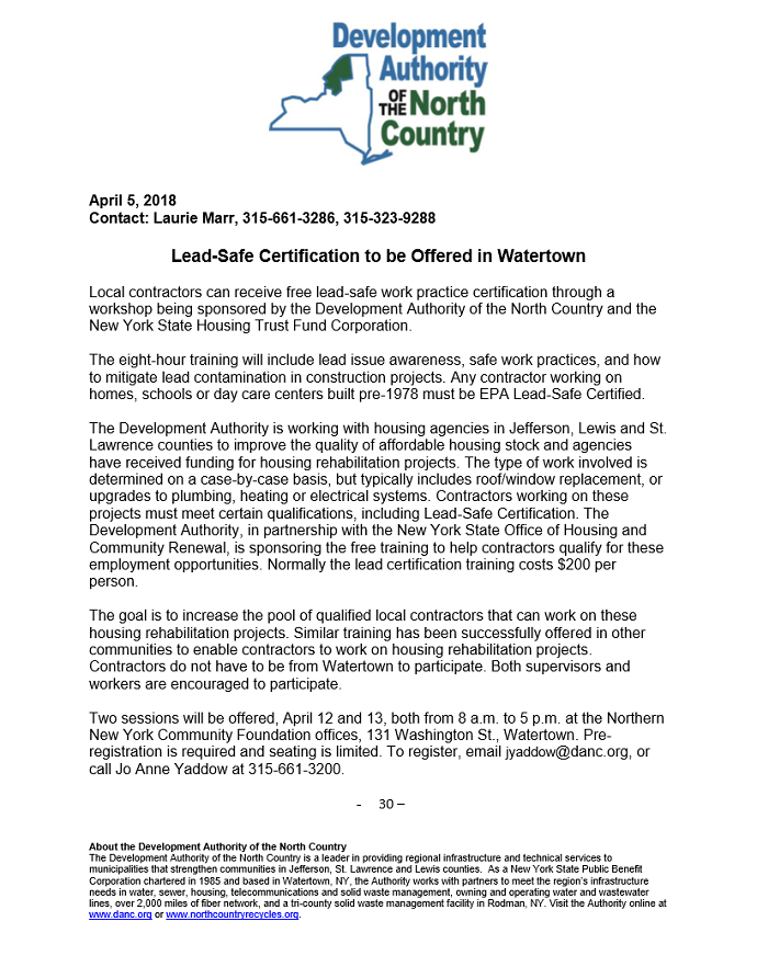 DANC to Offer Free Lead-Safe Certification for Local Contractors