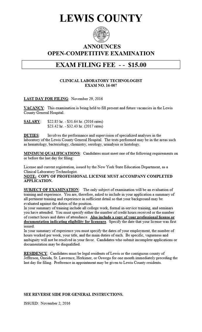 Civil Service Exam Announcement Clinical Laboratory Technologist
