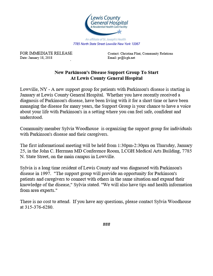 New Parkinson's Disease Support Group to Start at LCGH