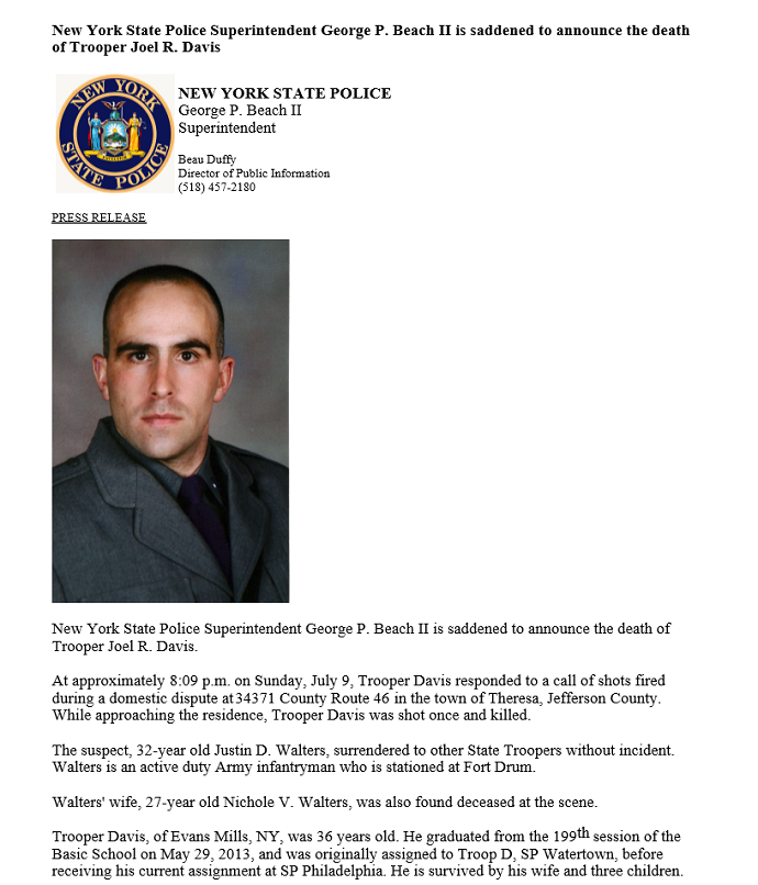 NYSP Superintendent Saddened to Announce Death of Trooper