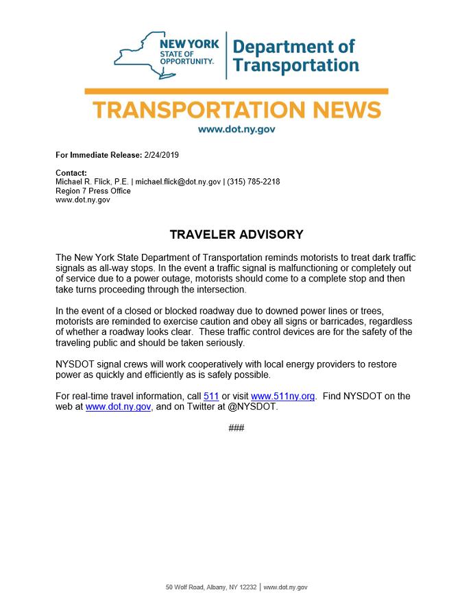 NYSDOT Travel Advisory- Dark Signals
