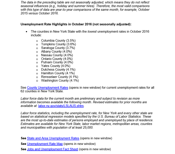 NYS Dept  of Labor Releases October Unemployment Figures