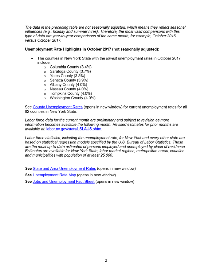 NYS Department of Labor Releases October Unemployment Data