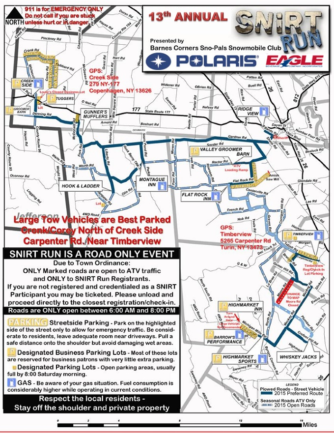 13th Annual SNIRT Run This Saturday; Information & Parking Map